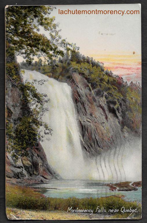 Carte postale portant le cachet postal « Montmorency Falls », du 19 septembre 1907.