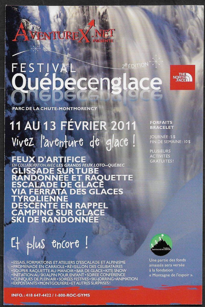 Carte publicitaire pour la 2e édition du festival Québecenglace tenu à la chute Montmorency du 11 au 13 février 2011.