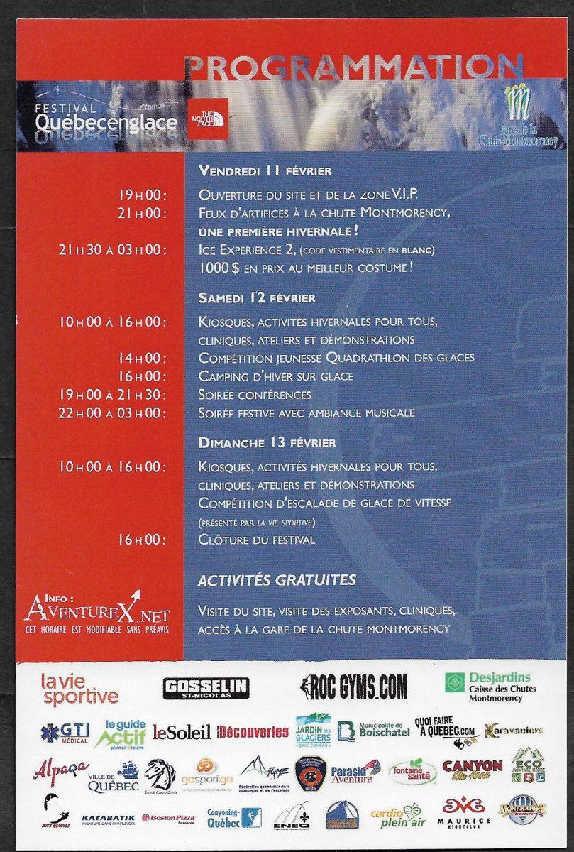 Endos d'une carte publicitaire pour la 2e édition du festival Québecenglace tenu à la chute Montmorency du 11 au 13 février 2011. On y trouve la liste des activités.