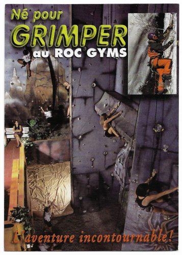 Carte postale publicitaire pour l'Ascensation et Roc Gyms montrant, en mortaise, un escaladeur grimpant à une paroi de glace verticale à la chute Montmorency.