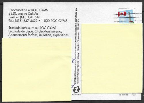 Carte postale publicitaire présentant les coordonnées pour joindre l'Ascensation et Roc Gyms. On y mentionne également l'escalade de glace à la chute Montmorency.